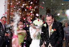 Salida de la iglesia, boda en Calpe